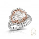 18K DIAMOND RING WITH PINK DIAMONDS