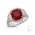 PLATINUM PIGEONS BLOOD RUBY AND DIAMOND RING