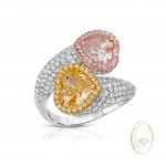 18K PINK AND YELLOW HEART SHAPE DIAMOND RING
