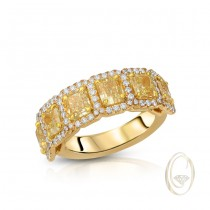 18K DIAMOND BAND WITH YELLOW DIAMONDS