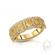 18K 4-STONE YELLOW DIAMOND RING