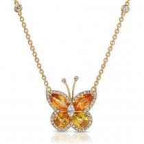 18K ORANGE/YELLOW SAPPHIRE BUTTERFLY PENDANT