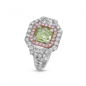 18K FANCY INTENSE GREEN DIAMOND RING