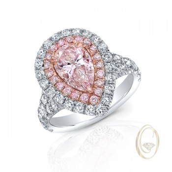 PLATINUM PEAR-SHAPE PINK DIAMOND RING