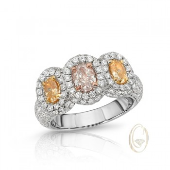 18K FANCY COLOR 3-STONE DIAMOND RING
