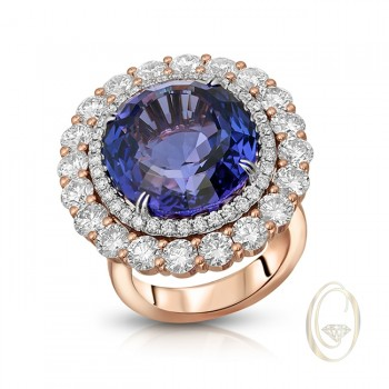 18K TANZANITE DIAMOND RING